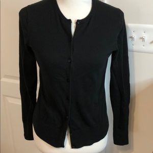 Ann Taylor Cotton Ann Cardigan Sweater in Black